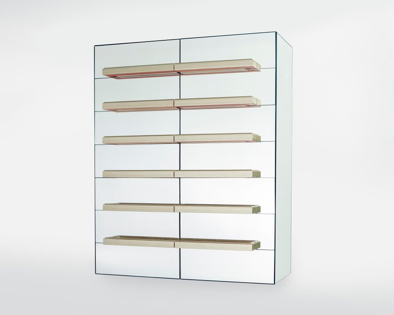 Contemporary Mirrored Floating Dry Bar with Champagne Molding Handles For Sale 1