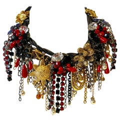 """Contemporary Mix Metal and Leather Fringe Statement Necklace """"Collier"""""""