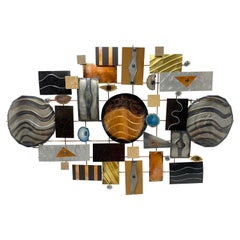 Contemporary Mixed Media Metal and Stone Wall Sculpture