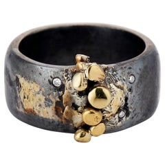 Contemporary, Mixed Metal, Gold, Oxidized Sterling Silver Diamond Band Ring