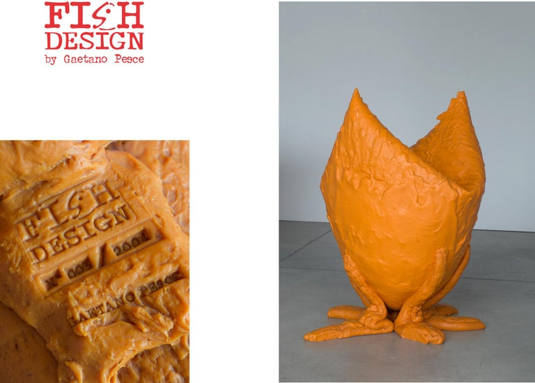 Arts and Crafts Contemporary Model XXXL N. 003/2004 Vase by Gaetano Pesce, 2004, Orange, Limited For Sale