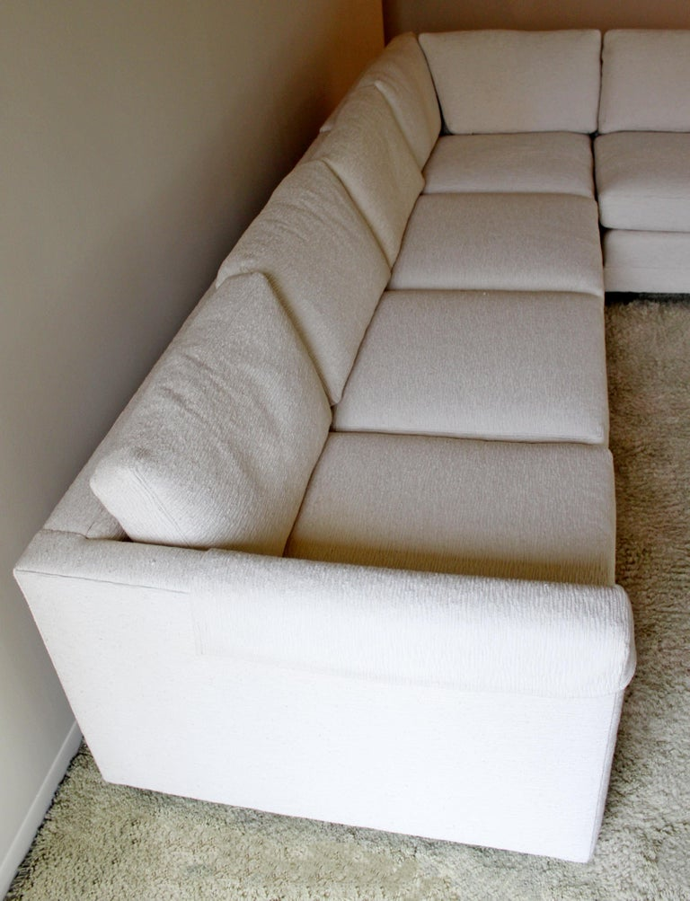 American Contemporary Modern 3-Piece L Shaped White Sectional Sofa by Henredon 1980s For Sale