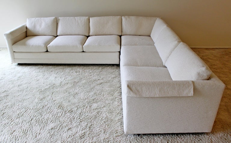 Contemporary Modern 3-Piece L Shaped White Sectional Sofa by Henredon 1980s In Good Condition For Sale In Keego Harbor, MI