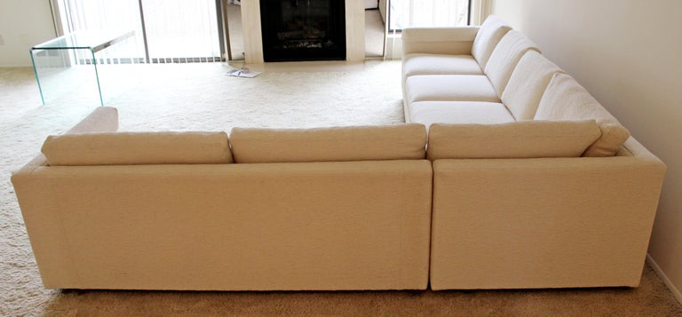 Chenille Contemporary Modern 3-Piece L Shaped White Sectional Sofa by Henredon 1980s For Sale