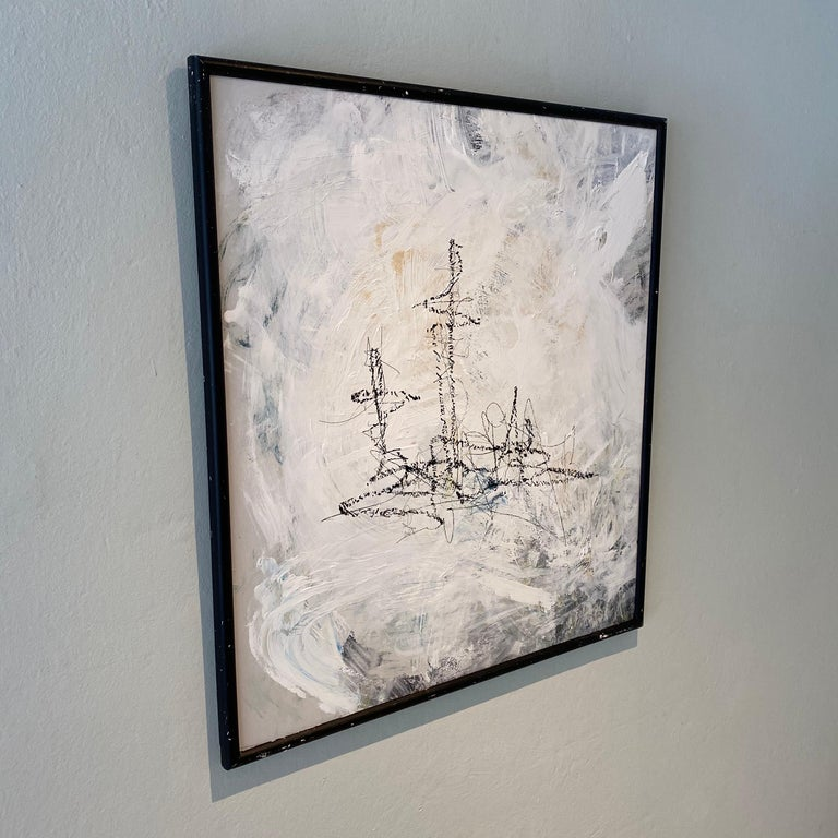 Hand-Painted Contemporary Modern Abstract Framed Grey White Black Acrylic Painting on Wood For Sale