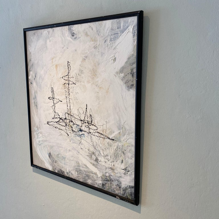 Contemporary Modern Abstract Framed Grey White Black Acrylic Painting on Wood In New Condition For Sale In Berlin, DE