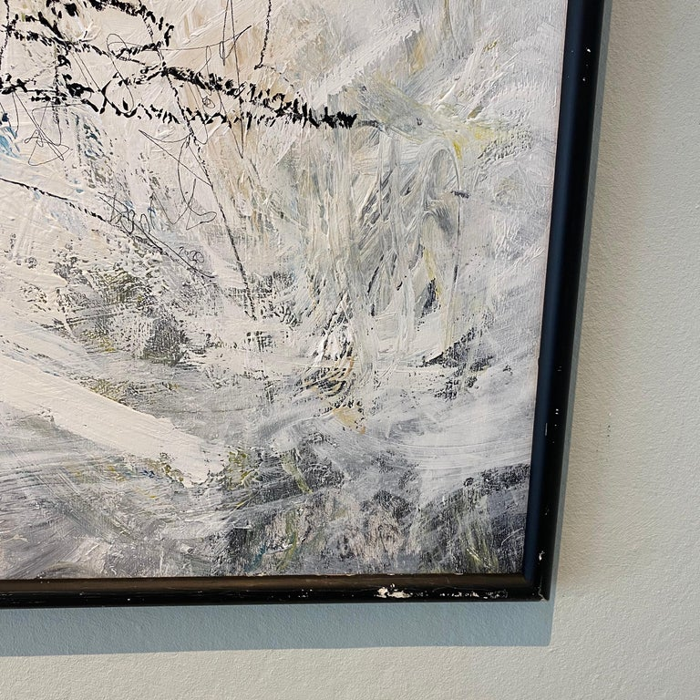 Plywood Contemporary Modern Abstract Framed Grey White Black Acrylic Painting on Wood For Sale