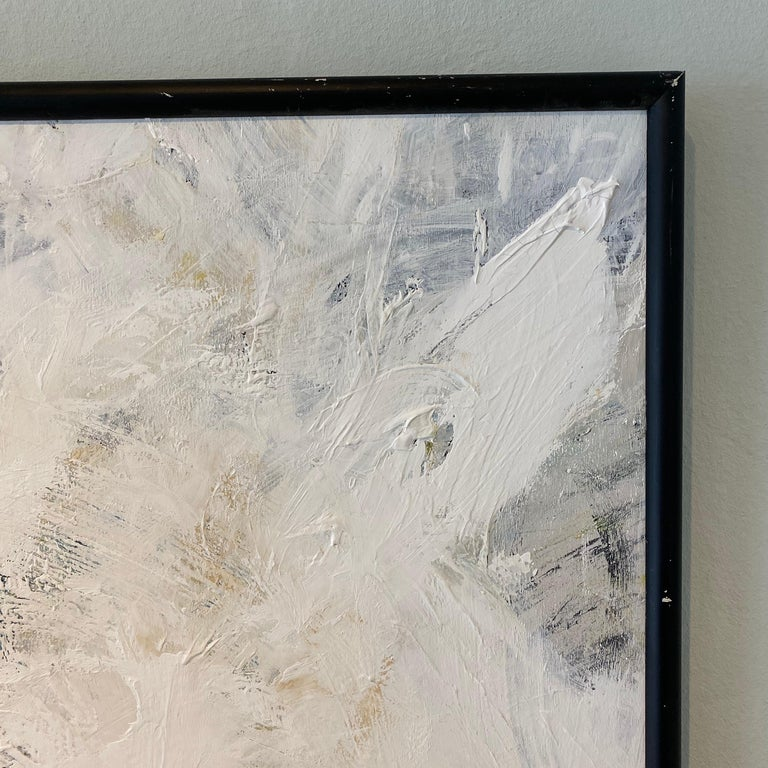 Contemporary Modern Abstract Framed Grey White Black Acrylic Painting on Wood For Sale 3