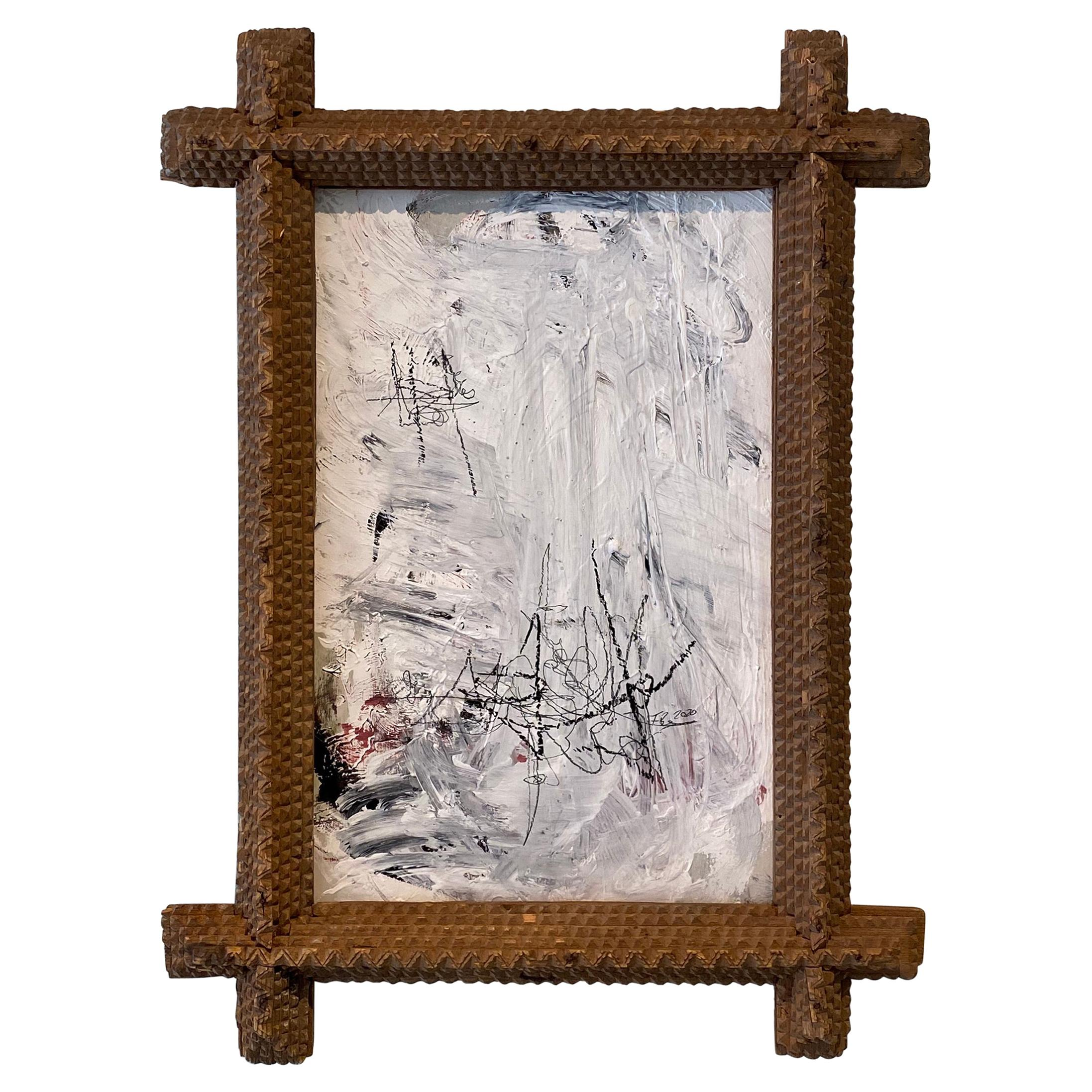 Contemporary Modern Abstract Framed Grey White Black Acrylic Painting on Wood