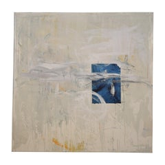 Contemporary Modern Abstract Grey White Blue Black Acrylic Painting on Canvas