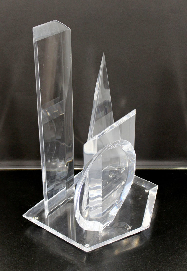 Contemporary Modern Abstract Lucite Table Sculpture Signed Van Teal 1980s Shapes For Sale 1