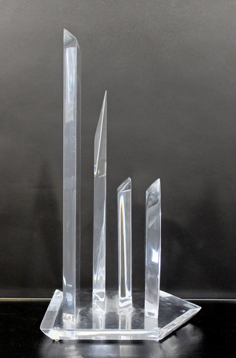 Contemporary Modern Abstract Lucite Table Sculpture Signed Van Teal 1980s Shapes For Sale 2
