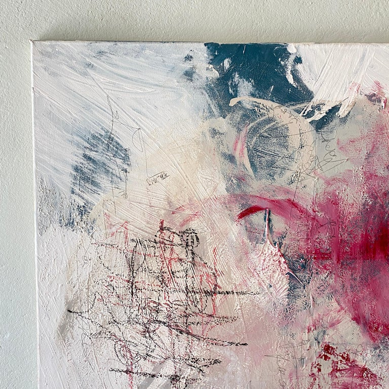 German Contemporary Modern Abstract Painting on Canvas in Red, White and Grey For Sale