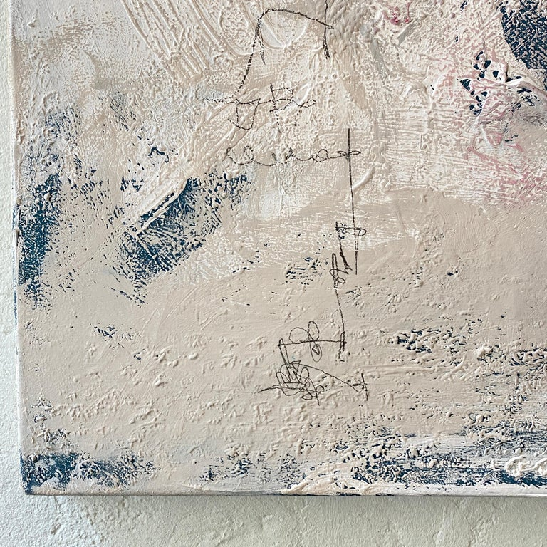 Contemporary Modern Abstract Painting on Canvas in Red, White and Grey For Sale 4