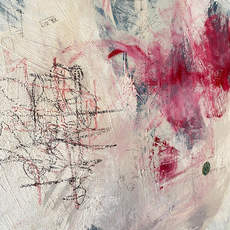 Contemporary Modern Abstract Painting on Canvas in Red, White and Grey For Sale 5