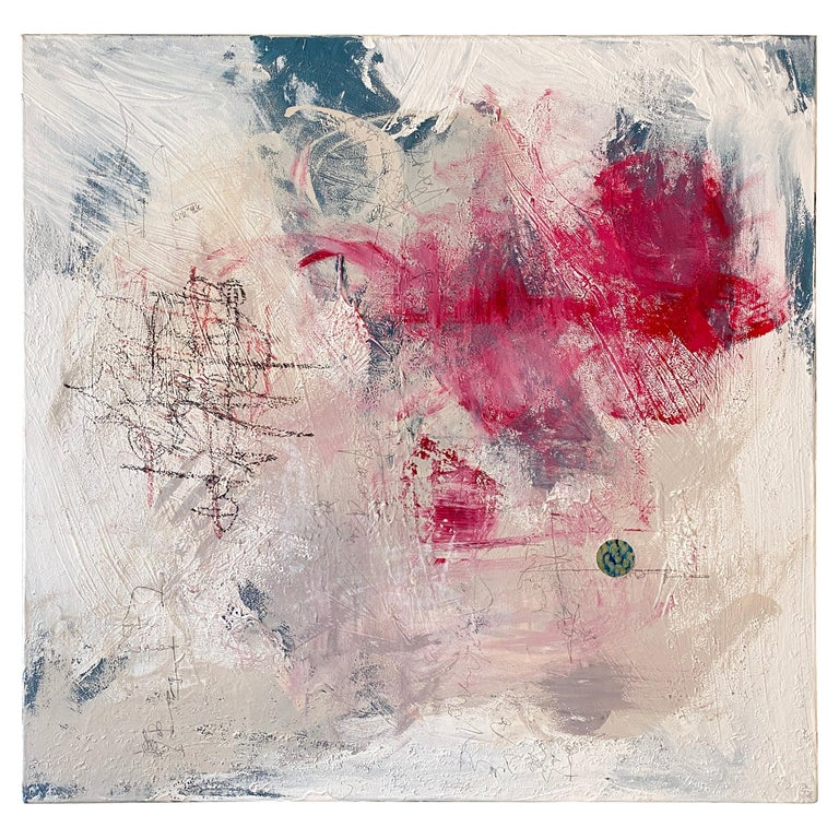 Contemporary Modern Abstract Painting on Canvas in Red, White and Grey For Sale