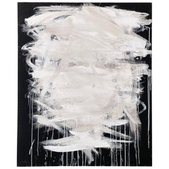 Contemporary Modern Abstract White and Black Acrylic Painting on Canvas