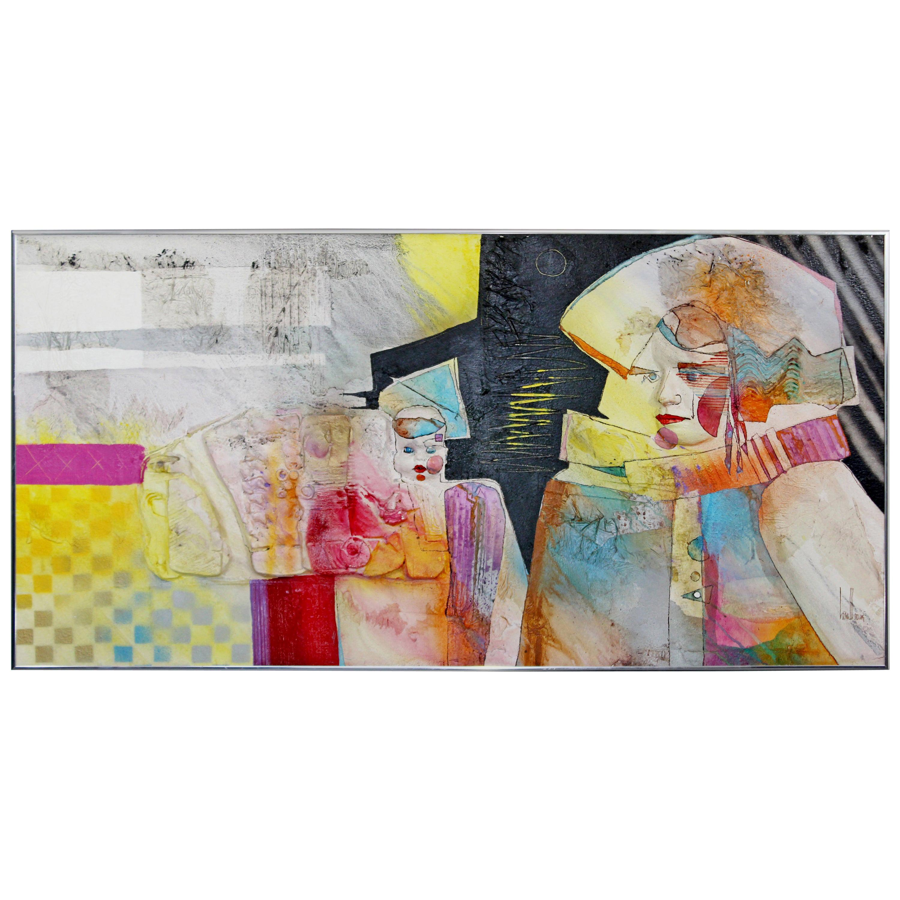 Contemporary Modern Acrylic & Dencite Mixed Media Art Hawthorne Gifted Child