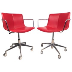 Contemporary Modern Adjustable Swivel Chairs, a Pair