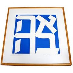 "Contemporary Modern Ahava ""Love"" Framed Silkscreen Signed Robert Indiana 1993"