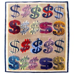 Contemporary Modern Andy Warhol Dollar Signs Signed Area Rug Carpet Dated 1981