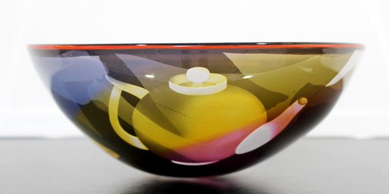 Contemporary Modern Ann Warff Wolff Signed Textured Art Glass Centerpiece Bowl In Good Condition In Keego Harbor, MI