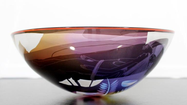 20th Century Contemporary Modern Ann Warff Wolff Signed Textured Art Glass Centerpiece Bowl