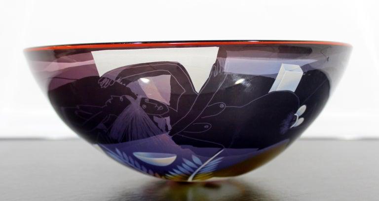 Blown Glass Contemporary Modern Ann Warff Wolff Signed Textured Art Glass Centerpiece Bowl