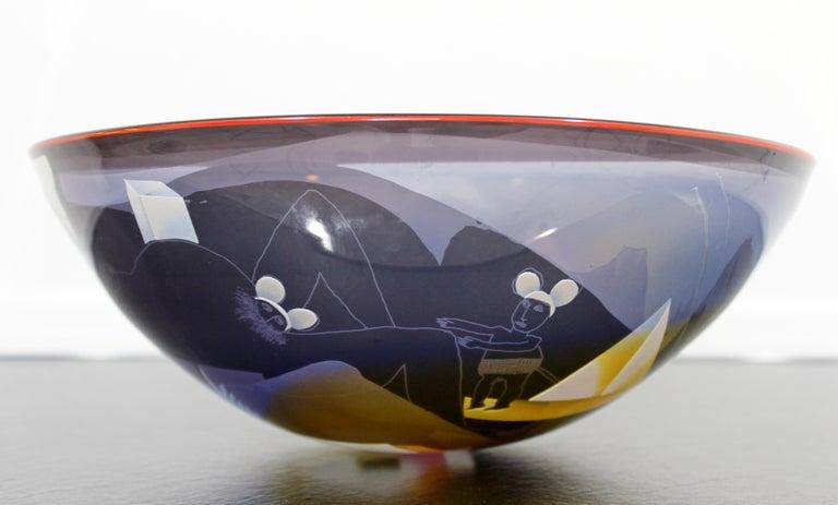 Contemporary Modern Ann Warff Wolff Signed Textured Art Glass Centerpiece Bowl 1