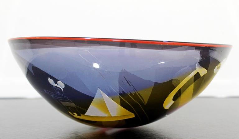 Contemporary Modern Ann Warff Wolff Signed Textured Art Glass Centerpiece Bowl 2