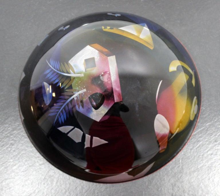 Contemporary Modern Ann Warff Wolff Signed Textured Art Glass Centerpiece Bowl 4
