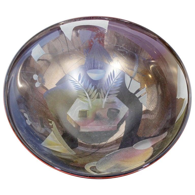 Contemporary Modern Ann Warff Wolff Signed Textured Art Glass Centerpiece Bowl