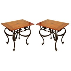 Contemporary Modern Baker Pair of Wood Topped Metal Side End Tables 1990s