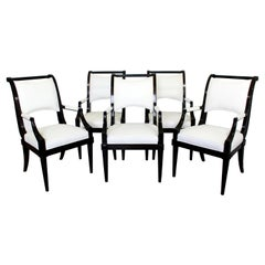 Contemporary Modern Baker Set of 5 Dining Armchairs Black Lacquer