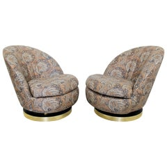 Contemporary Modern Baughman Thayer Coggin Pair Curved Swivel Lounge Chairs 80s