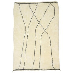 Contemporary Modern Berber Moroccan Rug with Minimalist Bauhaus Style