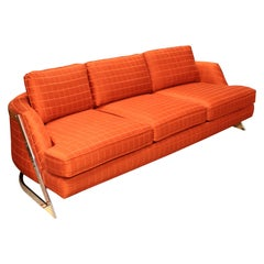 Contemporary Modern Bernhardt Flair Chrome Wrapped Sofa Baughman Era, 1980s