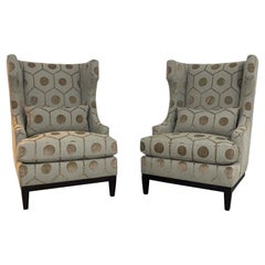 Contemporary Modern Bernhardt High Backed Pair of Lounge Club Armchairs 1990s