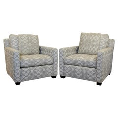Contemporary Modern Bernhardt Pair of Lounge Club Armchairs 1990s Baughman Style