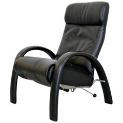 Contemporary Modern Bjork Lafer Black Leather Recliner Reclining Armchair