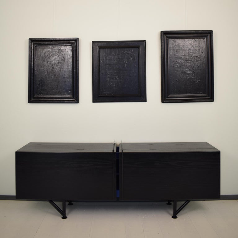 Contemporary Modern Black Abstract Painting on Canvas in a Old Frame In New Condition For Sale In Berlin, DE