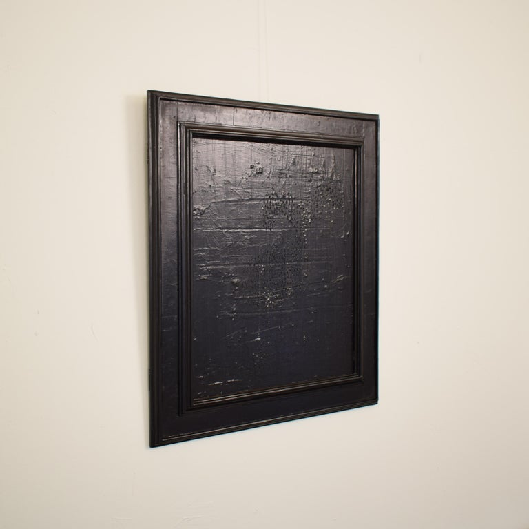 Contemporary Modern Black Abstract Painting on Canvas in a Old Frame For Sale 2