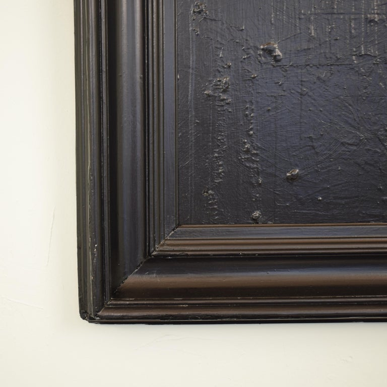 Acrylic Contemporary Modern Black Abstract Painting on Canvas in a Old Frame For Sale