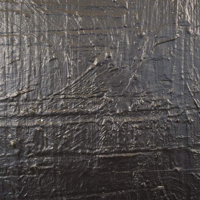 Contemporary Modern Black Abstract Painting on Canvas in a Old Frame For Sale 1