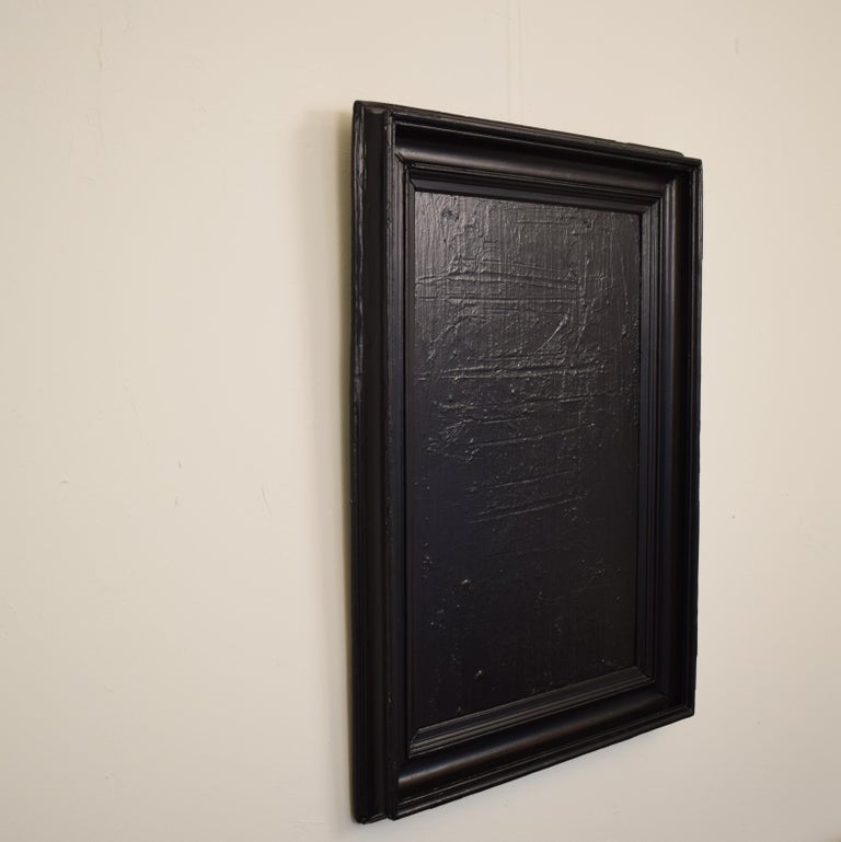 Contemporary Modern Black Abstract Painting on Canvas in a Old Frame For Sale 4