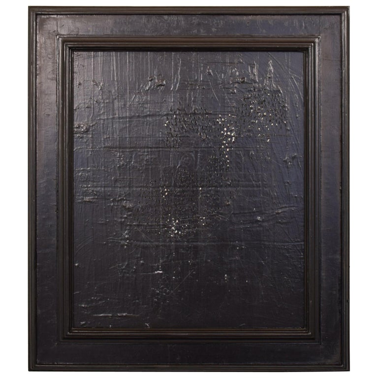 Contemporary Modern Black Abstract Painting on Canvas in a Old Frame For Sale