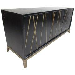 Contemporary Modern Black and Gold Credenza