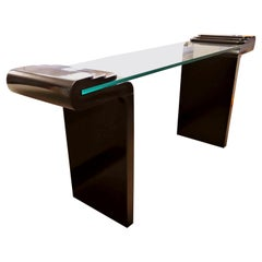 Contemporary Modern Black Lacquer & Glass Curved Console Table, 1980s