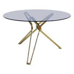Contemporary Modern Brass and Fumé Glass Circular Dutch Table
