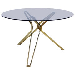 Contemporary Modern Brass and Fumé Glass Circular Dutch Table